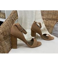 Женские босоножки Hermes ( Гермес) летние замшевые на высоком каблуке Brown