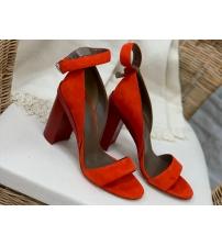Женские босоножки Hermes ( Гермес) летние замшевые на высоком каблуке Red