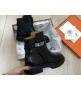 Женские ботинки Hermes (Гермес) LUX кожаные осенние Black