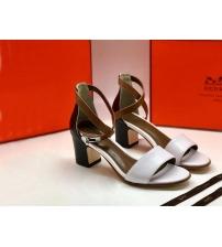 Женские босоножки Hermes ( Гермес) летние кожаные на среднем каблуке White/Black