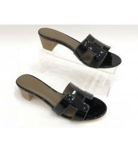Женские сандалии Hermes (Гермес) Oasis кожа лаковая Black
