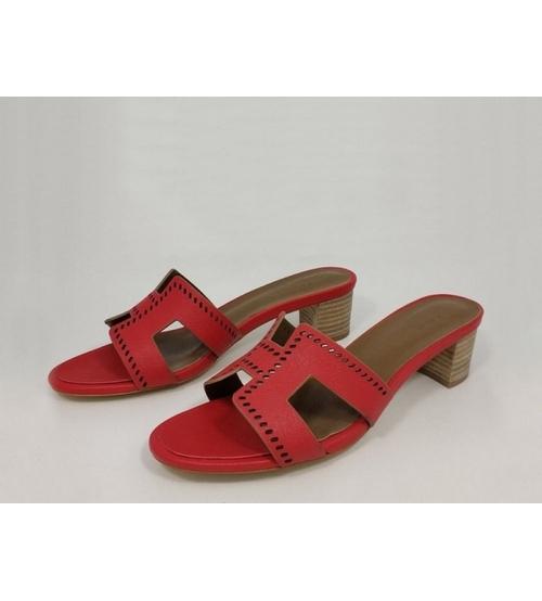 Женские сандалии Hermes (Гермес) Oasis кожаные Red