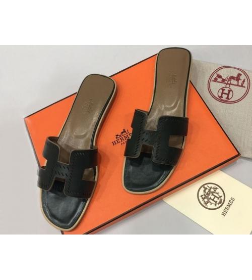 Женские шлепки Hermes ( Гермес) Oran брендовые кожа Black