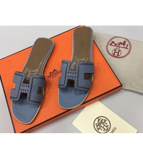 Женские шлепки Hermes ( Гермес) Oran брендовые кожа Blue