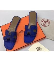 Женские шлепки Hermes ( Гермес) Oran брендовые кожа Dark Blue