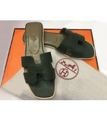 Женские шлепки Hermes ( Гермес) Oran брендовые кожа Green
