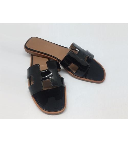 Женские шлепки Hermes ( Гермес) Oran брендовые кожа лаковая Black