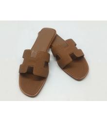 Женские шлепки Hermes ( Гермес) Oran брендовые кожаные Brown