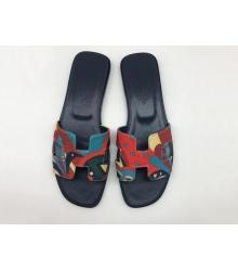 Женские сандалии-шлепки Hermes ( Гермес) Oran кожаные Black/Color