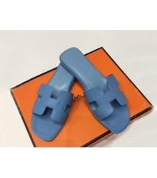 Женские сандалии-шлепки Hermes ( Гермес) Oran кожаные Blue