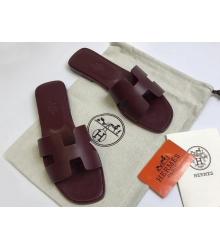Женские сандалии-шлепки Hermes ( Гермес) Oran кожаные Bordo