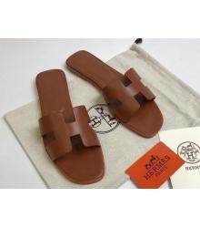 Женские сандалии Hermes ( Гермес) Oran кожаные Brown
