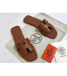 Женские сандалии-шлепки Hermes ( Гермес) Oran кожаные Brown