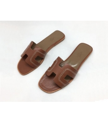 Женские шлепанцы-сандалии Hermes (Гермес) Oran кожаные Brown
