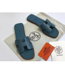 Женские сандалии-шлепки Hermes ( Гермес) Oran кожаные Dark Blue