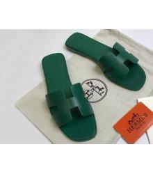 Женские сандалии-шлепки Hermes ( Гермес) Oran кожаные Green