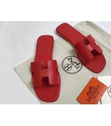 Женские сандалии-шлепки Hermes ( Гермес) Oran кожаные Red