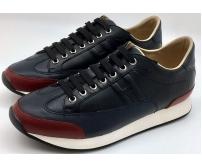 Кроссовки мужские Hermes (Гермес) осенние кожаные Black/Bordo