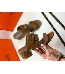 Женские босоножки Hermes ( Гермес) Ovation летние кожаные Brown