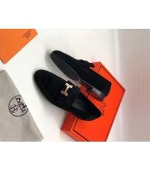 Женские лоферы Hermes (Гермес) Paris loafer текстиль с пряжкой H Black