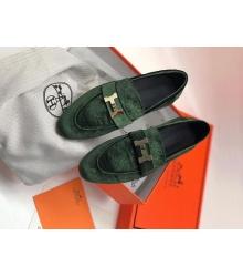 Женские лоферы Hermes (Гермес) Paris loafer текстиль с пряжкой H Green