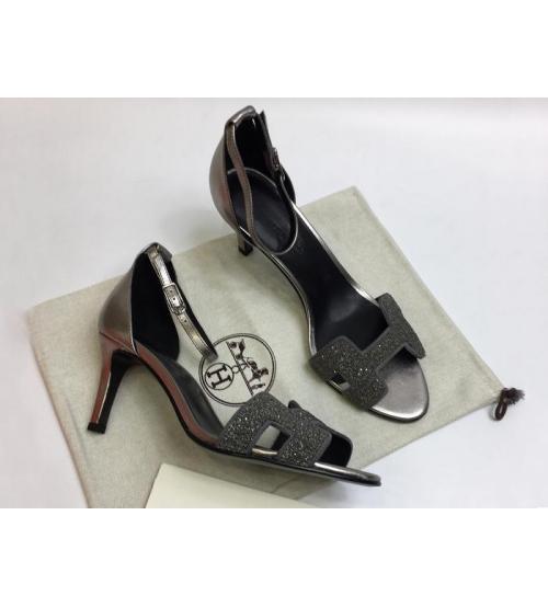 Женские босоножки Hermes ( Гермес) Premiere sandal летние текстиль каблук шпилька средней длины dark Gray