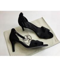 Женские босоножки Hermes ( Гермес) Premiere sandal летние текстиль каблук шпилька средней длины Black