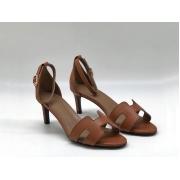 Женские босоножки Hermes ( Гермес) Premiere sandal летние кожаные каблук шпилька средней длины Brown