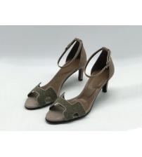 Женские босоножки Hermes ( Гермес) Premiere sandal летние текстиль каблук шпилька средней длины Gray