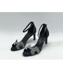 Женские босоножки Hermes ( Гермес) Premiere sandal летние текстиль каблук шпилька средней длины Silver/Black