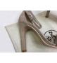 Женские босоножки Hermes ( Гермес) Premiere sandal летние текстиль на высоком каблуке шпилька Gray