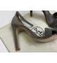 Женские босоножки Hermes ( Гермес) Premiere sandal летние текстиль на высоком каблуке шпилька Dark Gray