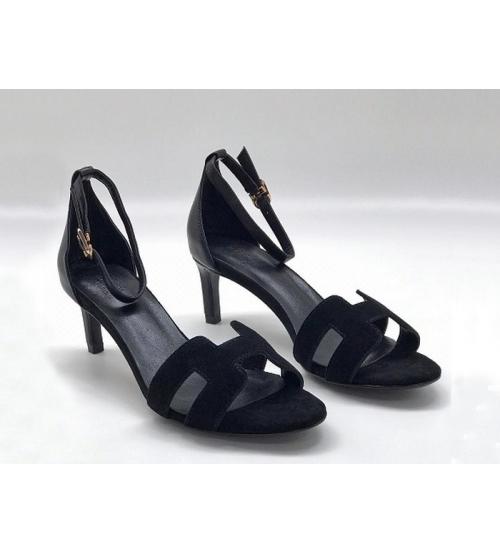 Женские босоножки Hermes ( Гермес) Premiere sandal летние замшевые каблук шпилька средней длины Black