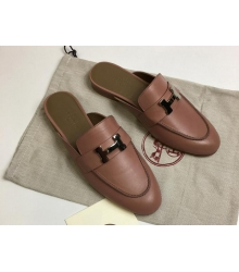 Женские мюли Hermes (Гермес) Rivoli mule кожаные с пряжкой H и открытой пяткой Pink