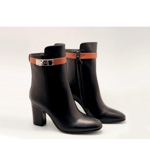 Женские ботильоны Hermes (Гермес) Saint Germain кожаные на молнии каблук средней длины Black