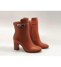 Женские ботильоны Hermes (Гермес) Saint Germain кожаные на молнии каблук средней длины Brown