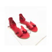 Женские сандалии Hermes (Гермес) Santorini кожа гладкая на плоской подошве Red