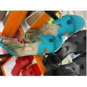Женские сандалии Hermes (Гермес) Santorini кожаные на плоской подошве Blue