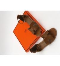 Женские сандалии Hermes (Гермес) Santorini кожаные на среднем каблуке Brown