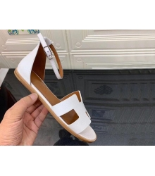 Женские сандалии Hermes (Гермес) Santorini кожаные на среднем каблуке White