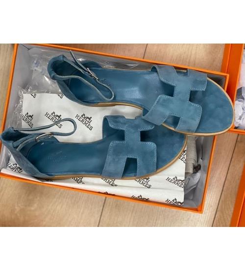 Женские сандалии Hermes (Гермес) Santorini замшевые на низком каблуке Blue