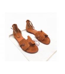 Женские сандалии Hermes (Гермес) Santorini замшевые на низком каблуке Brown