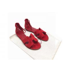Женские сандалии Hermes (Гермес) Santorini замшевые на низком каблуке Red