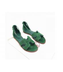Женские сандалии Hermes (Гермес) Santorini замшевые на плоской подошве Green