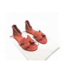 Женские сандалии Hermes (Гермес) Santorini замшевые на плоской подошве Orange