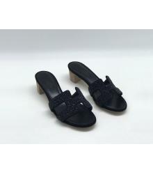 Женские босоножки Hermes ( Гермес) текстиль летние на среднем каблуке Black