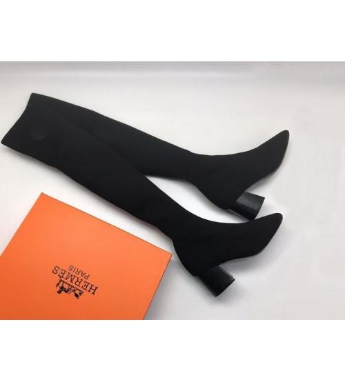 Ботфорты женские Hermes (Гермес) текстиль средний каблук Black