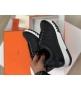 Женские кроссовки Hermes (Гермес) Trail кожаные на шнурках Black