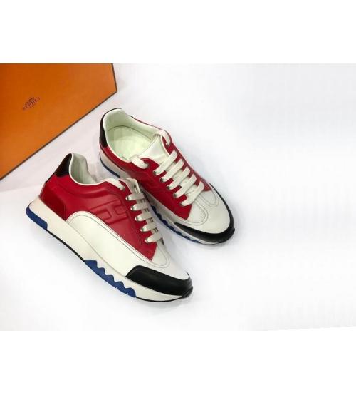 Женские кроссовки Hermes (Гермес) Trail кожаные на шнурках Red/White