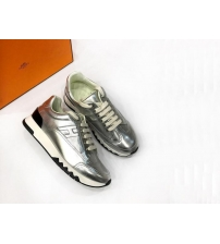 Женские кроссовки Hermes (Гермес) Trail кожаные на шнурках Silver
